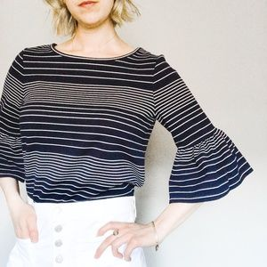 Max Studio Striped Frill Sleeve Blouse
